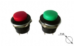 16mm plastic button switch/momentary/off-(on)/reset push button